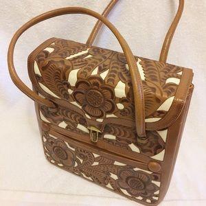Art Mex vintage leather baguette purse. 60's